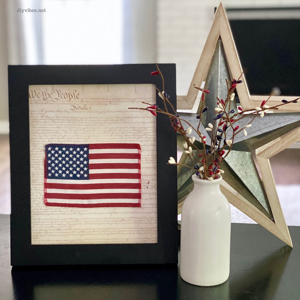 patriotic framed art on table with star