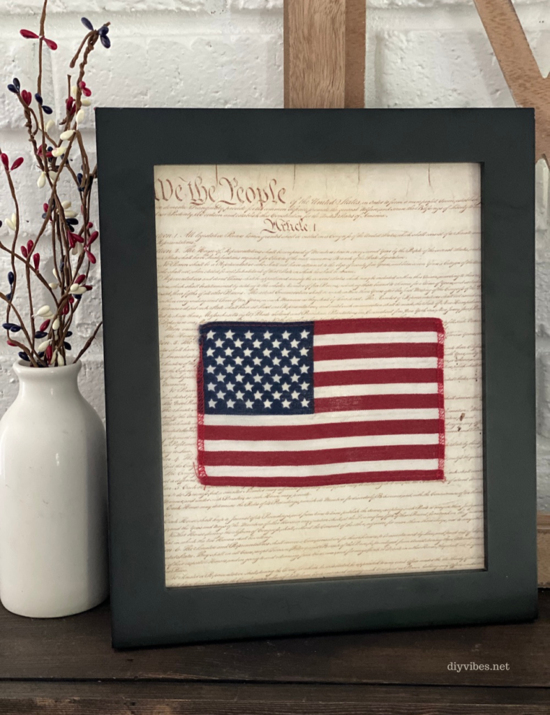 patriotic flag and constitution framed art